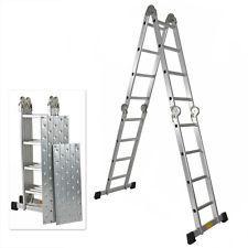 330LB 15.5' Step Platform Multi Purpose Aluminum Folding Scaffold Ladder EN131