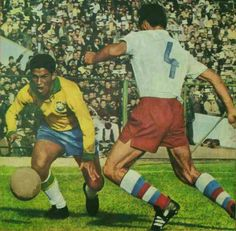 Brazil 3 Czechoslovakia 1 in 1962 in Santiago. Garrincha takes on Ladislav Novak in the World Cup Final.