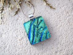 Petite Aqua Green Necklace Dichroic Jewelry Dichroic by ccvalenzo