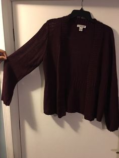 CHRISTOPHER & BANKS SWEATER ALMOST A BLACK CHERRY COLOR SIZE XL #ChristopherBanks #Cardigan
