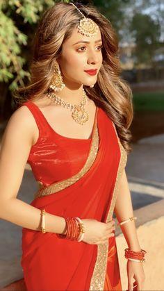 Gorgeous Hiba Nawab In Red Fancy Saree Saree Draping Styles, Saree Styles, Fancy Sarees, Party Wear Sarees, Beautiful Saree, Beautiful Indian Actress, Saree Look, Red Saree, Satin Saree