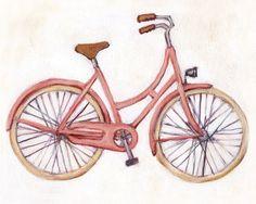 Pink Bicycle  8x10 Print  Bike Illustration by heatherfuture, $18.00