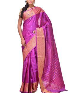 Purple Uppada Silk Handloom Saree with Plus Pallu Design u1136