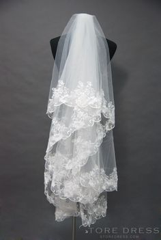 Modern Cathedral Wedding Veil With Lace Applique Edge at Storedress.com