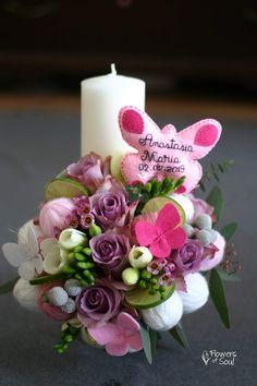 Flowers of Soul: Lumanari de botez Diy Flowers, Flower Diy, Pillar Candles, Table Decorations, Satin, Home Decor, Art, Candles, Gardens