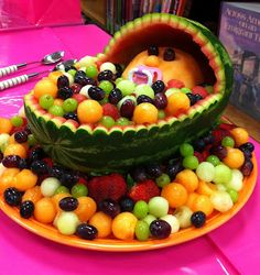 Marvelous Baby Shower Center Piece/ Fruit Salad Idea. Carved Out A Watermelon And  Filled With Fruit. I Used A Grapefruit For The Head.