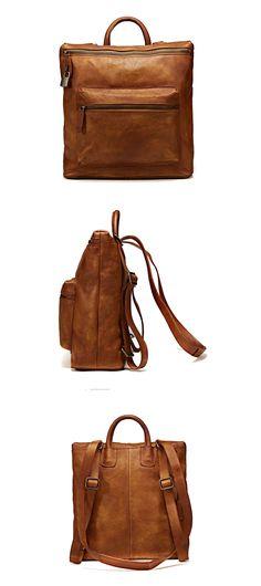 Handmade Full Grain Genuine Leather Backpack Shoulder Handbag