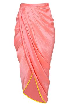 Multicolour coin and thread work peplum jacket with salmon dhoti wrap skirt by Papa Don't Preach by Shubhika