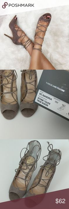 NWT Vince Camuto 'Sandria' Lace Up Heels Brand new, never worn! Color is Stone Taupe, in suede. It is a wearable, warm grey. This shoe is a fashion blogger favorite! Includes original box. Accepting reasonable offers! Vince Camuto Shoes Heels