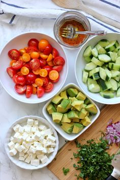 This tomato, cucumber, avocado salad is an easy, flavorful summer salad. It's crunchy, fresh and simple to make. It's a family favorite. Cucumber Avocado Salad, Avocado Salad Recipes, Healthy Salad Recipes, Veggie Recipes, Avocado Dessert, Avocado Toast, Easy Summer Salads, Easy Salads, Summer Tomato