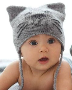 Knit an adorable Pretty Kitty Cat Hat for your little one with this ... 9ff85ad1a99