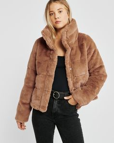 On-trend faux-fur puffer jacket with mock neckline, zip and snap-up front and cozy lining. Womens Clearance, Puffer Jackets, Fall Winter, Winter Coats, Cold Weather, Mini, Fur Coat, Jackets For Women, Dress Up