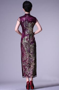 Embroidered beading phoenix floral purple long cheongsam dress   Modern Qipao   Join 5 stores 8 days oriental gift and apparels Christmas giveaway at http://wp.me/p49CzR-4