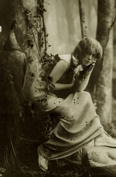 Vintage woman in the forest