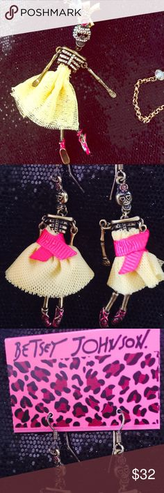 Betsey Johnson 2 piece Dios de los Muertos set Betsey Johnson 2 piece Dios de los Muertos set. Necklace and earrings. All skeletons have cute little dresses and move!!! Great Christmas gift or keep for yourself!! Betsey Johnson Jewelry Necklaces