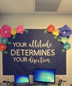 Your attitude determines your direction. Bulletin board ideas classroom quotes i Your attitude determines your direction. Bulletin board ideas classroom quotes inspirational flowers cute board class decor The post Your attitude determines y Office Bulletin Boards, Classroom Bulletin Boards, Future Classroom, School Classroom, Classroom Themes, Classroom Organization, Bulletin Board Ideas For Teachers, Counseling Bulletin Boards, Classroom Door Quotes