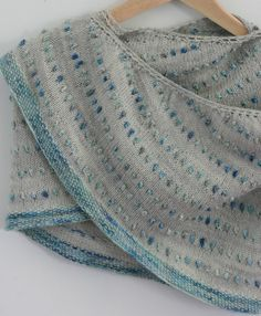 """I like it! """"My new shawl pattern for use with variegated sock yarn, coming soon! Easy, quick - these are not bobbles - you don't have to turn your knitting!"""""""