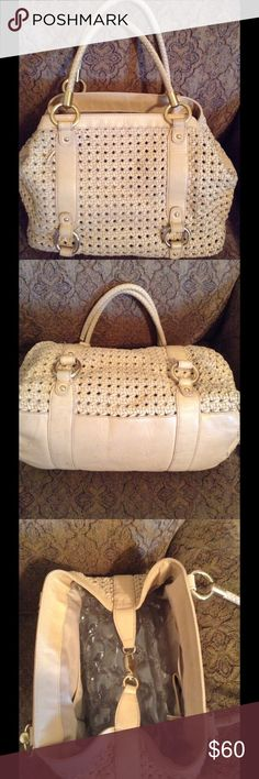 """Large Antonio Melani cream color  bag.firm price🚫 In good condition 18""""width 12""""long has lots of pockets in the inside for cell phone etc. beautiful brass hardware. ANTONIO MELANI Bags Satchels"""