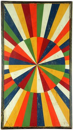 "American, 1st half-20th century, linoleum. Color wheel in original polychrome. Minor wear. Backed on wood with frame. 30""h. 54.5""w."