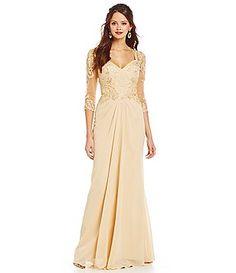 MGNY Madeline Gardner New York Beaded Applique Chiffon Gown