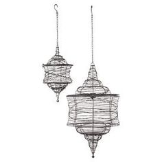 "Set of 2 Moroccan-style hanging lanterns.   Product:  Small and large hanging lanternConstruction Material: MetalColor: BlackDimensions: Small: 14"" H x 8"" DiameterLarge: 26"" H x 14"" DiameterCleaning and care: Wipe with a damp cloth"