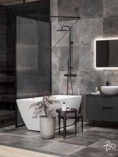 #showerwall #blackframeglasswall #stripeglass #meltedglass #patternglass #bathroomdesign #bathroomideas #finnishdesign #scandinaviandesign   Instagram: Cameraman: @petterssonphoto co-operation: @bo_helsinki Glass Shower, Scandinavian Design, Interior Decorating, Bathtub, Bathroom, Wall, Home, Helsinki, Bob Cut