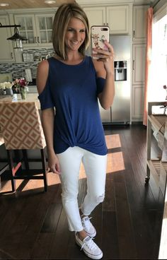 6d4e912fb61cbf Cold shoulder twist front shirt with white distressed jeans and converse  shoreline sneakers! Spring outfit