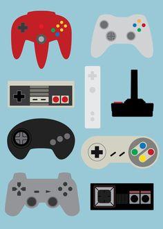 generations videogame controllers art print retro console nintendo sega xbox sony playstation nes snes genesis megadrive