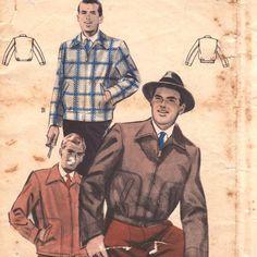 Butterick 6658 1950s Mens Zip Front Bomber Lumber Jacket Pattern Blouson | PatternGate - Craft Supplies on ArtFire