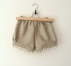 Girls Wool Shorts For Autumn Fall Winter With Pom Pom Detail