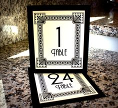 art deco wedding centerpieces | Art Deco Table Numbers Wedding Decor Sign Custom Great Gatsby Roaring ...