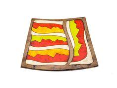 "Square Ceramic Plate 8"" Cherga Fruit Plate"