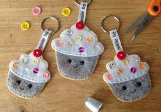 Cute little cupcake keyring with added sequin detail