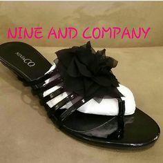Nine &co. Black sandle kitten heel flower Worn once Nine & Co. Shoes