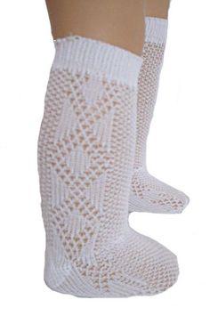 White Diamond  Design Knee Socks Fits 18 inch American Girl Dolls