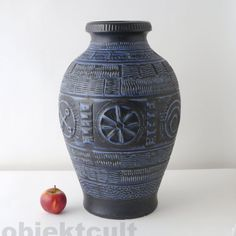 XXL Bay-Keramik Bodenvase 70er Floor Vase Bodo Mans ⍐50cm W.Germany bitossi 70s