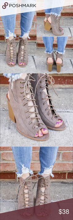 Taupe lace up cutout block heeled bootie They are a striking pair of faux suede, peep toe, lace up front booties with a perforated accent, cut out heel and stacked wood Shoes Ankle Boots & Booties