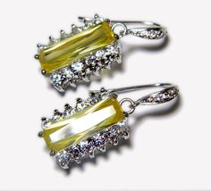 Wedding Mother of The Bride Gift Earrings Cubic Zirconia Rhodium Sterling Silver Hooks Yellow Bridal Wedding FREE US Shipping. $32.00, via Etsy.