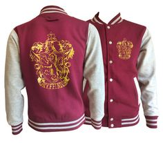 Vintage style Harry potter Inspired  Gryffindor House varsity jacket with gold emblem in front and back.  Amazing! very soft inside and warm.     This jacket has loads of features including knitted collar, cuffs and waistband, press stud closure, taped back neck and pocket with small opening for ear phone cord. There are a vast range of sizes in this jacket starting at extra-small and going up to 2 extra-large.      Fabric:  80% cotton, 20% polyester…