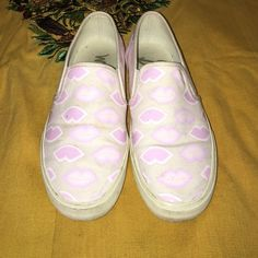 Sam Edelman-kiss sneakers Worn a few time, very comfy, pink and lavender  kisses on canvas material. Sam Edelman Shoes Sneakers