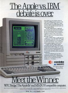 Found this one interesting due to our case. The headline's authoritative tone (p. seems like this is more of a news story than an ad. Alter Computer, Gaming Computer, Computer Science, Old Advertisements, Advertising, Apple Inc, Computer Hardware, Apple Products, Ibm