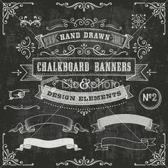 Chalkboard Banners and Design Elements stock vector art 23396201 - iStock Chalkboard Banner, Chalkboard Print, Chalkboard Lettering, Chalkboard Designs, Chalkboard Ideas, Chalk Ideas, Chalk Art, Free Vector Art, Banner Design