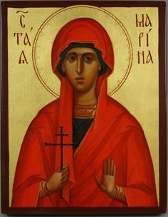 High quality hand-painted Orthodox icon of St Marina the Great Martyr. BlessedMart offers Religious icons in old Byzantine, Greek, Russian and Catholic style. Religious Icons, Religious Art, Paint Icon, St Margaret, Byzantine Art, Orthodox Icons, Roman Catholic, Gold Leaf, Margarita