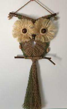 OWL #87 Macrame Wall Hanging, natural jute, sisal