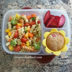 Veggie Pasta Salad, sliced plums and a homemade Strawberry Rhubarb Muffin - Creative Food: Back To School Essentials: Lunchboxes