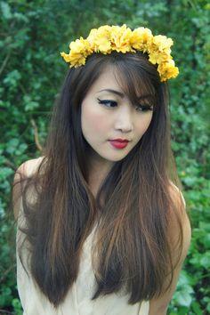 Rose Flower Crown - Yellow -  Rose and Wildflower headband, wedding, flower girl, Festival, bridal, wreath, garland, ring, halo, fairy