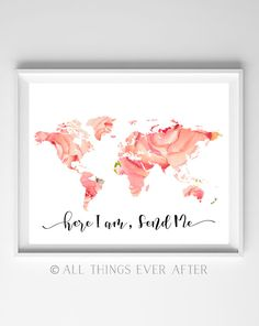 JW | SKE Gift | Here I am Send Me | Printable | Pioneer | Present | Print | Wall Art | Bible Verse Quote | Map | coral pink | Floral | 0085 by AllThingsEverAfter on Etsy