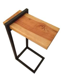 Hand Crafted Custom Reclaimed Wood And Steel Side Table by PH Weld | CustomMade.com