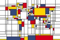 Piet Mondrian Style World Map -             Decoration Murale & Papier Peint Photo -           Photowall