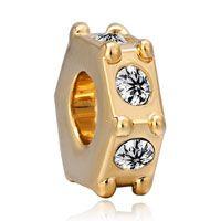 22 K Golden Clear Swarovski Element Crystal Spacer Fit All Brands Gold Plated Beads Charms Bracelets Pinterest